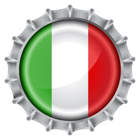 cultura italiana: Vector illustration of bottle cap decorated with the flags of italy
