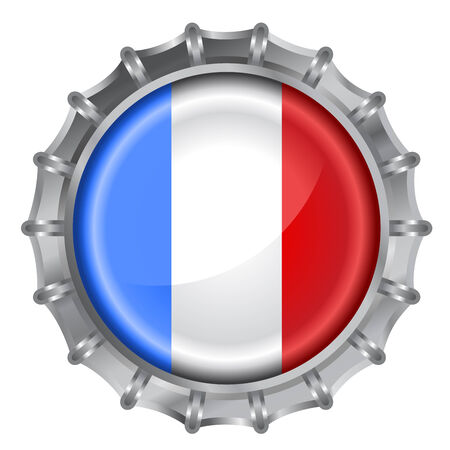 Vector illustration of bottle cap decorated with the flags of France Vector