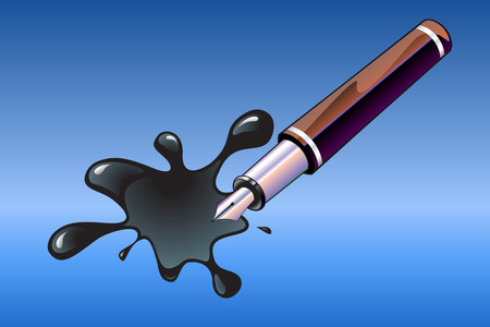 Vector Illustration of the beautiful, elegant pen and blot. Vector