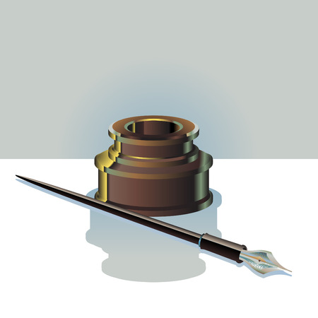 Vector Illustration of elegant ink bottle and pen. Illustration