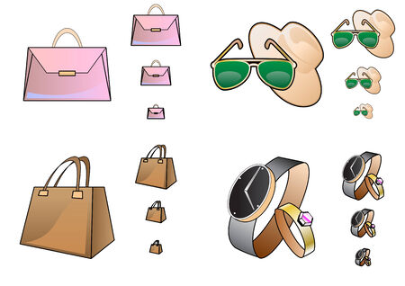 small size: Ilustraci�n vectorial de iconos de accesorios en un tama�o diferente. Los iconos de mirar grandes incluso en un peque�a de la resoluci�n. Ideal para tiendas web y e-commerce.  Vectores