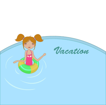 Vector Illustration of funny Kiddie style design summer background with the little girl in the water Vector