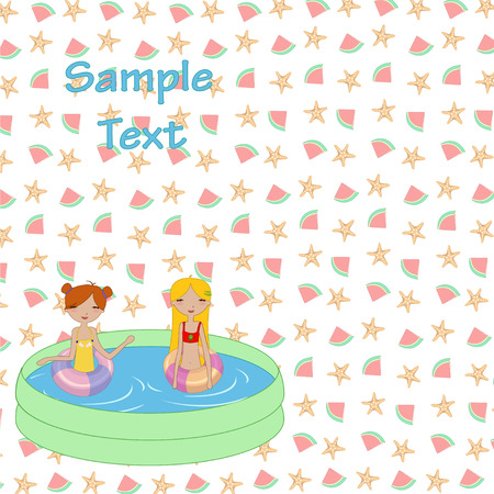 Vector Illustration of funny Kiddie style design summer background with Kids in the swimming pool Vector