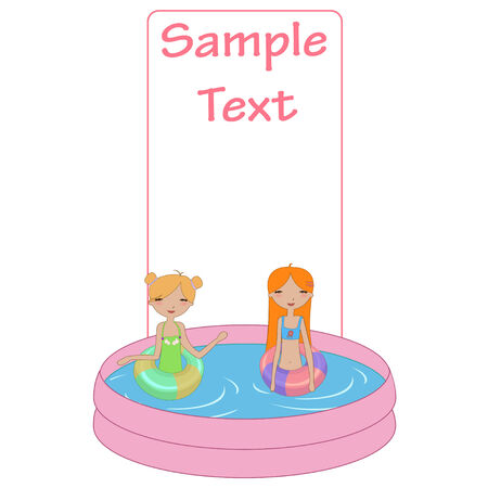 woman floating: Vector Illustration of funny Kiddie style design summer background with Kids in the swimming pool Illustration