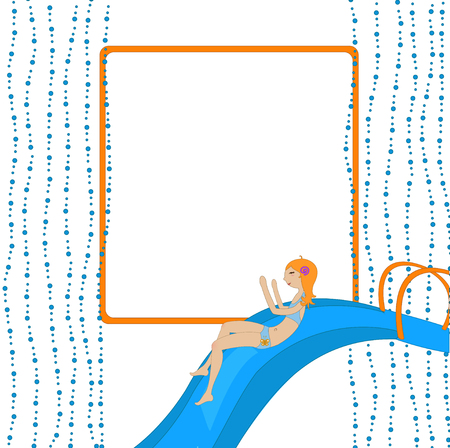 sliding colors: Vector Illustration of funny Kiddie style design summer background with Attractive girl on the waterslide