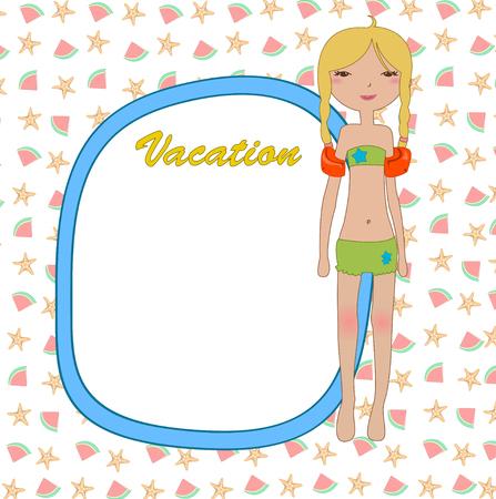 kiddie: Vector Illustration of funny Kiddie style design summer background  Illustration
