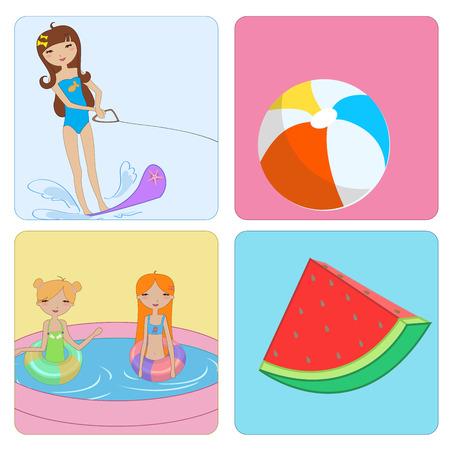 kiddie: funny Kiddie style design summer background Illustration