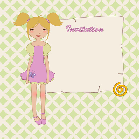 cool invitation frame with funky Young girl Illustration