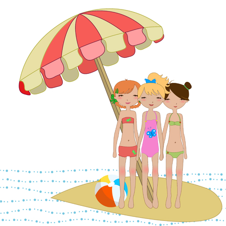 cool Kiddie style design summer background with three funny girls  Vector