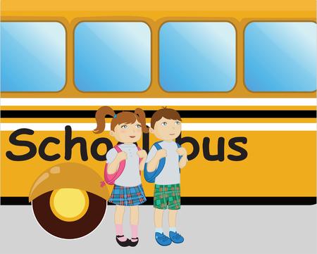 school girl uniform: piccolo ragazzo e ragazza in piedi vicino alla scuola bus.  Vettoriali