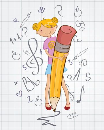 stylish Colorful Back to school design with cartoon little schoolgirl Vector