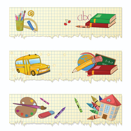 illustration of Colorful Back to school banners or stickers set Vector