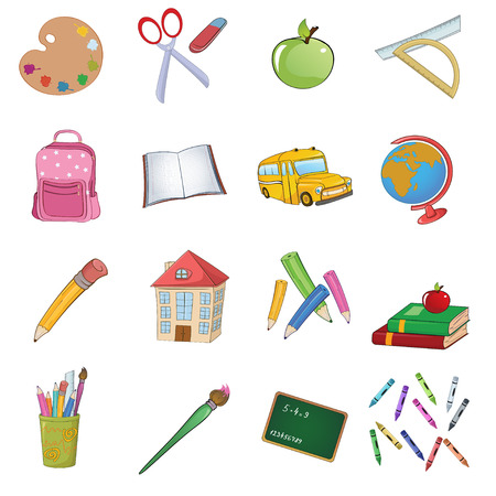 illustration of cool Back to school icons set Stock Vector - 7523320