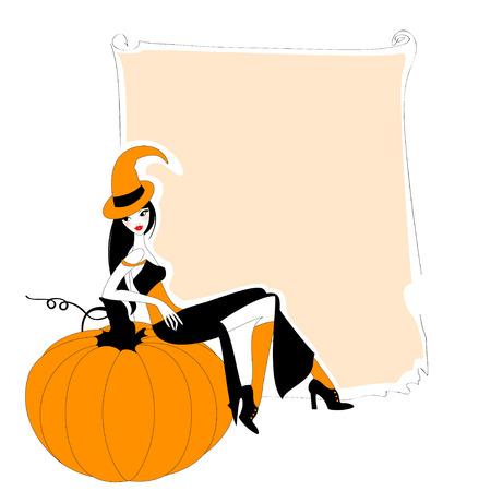 brujas caricatura: Ilustración del otoño colorido funky relacionados con el marco