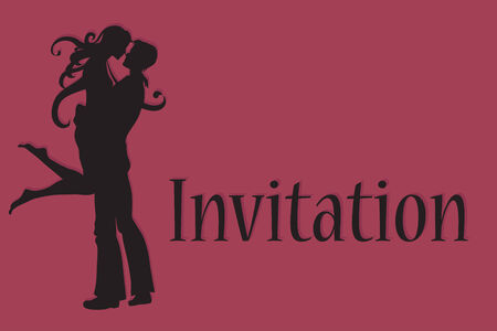 illustration of funky wedding invitation with cool sexy bride and groom