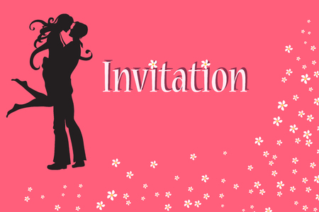 loving couple:   illustration of funky invitation with cool young sexy couple