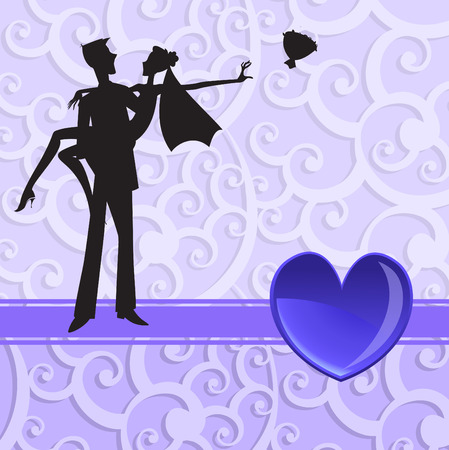 illustration of funky wedding invitation with cool sexy couple