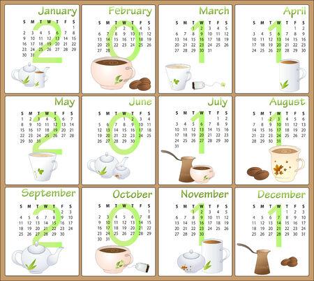 Illustration of cafe style design Calendar for 2011 Vector