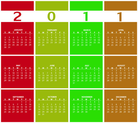 Illustration of style design Colorful Calendar for 2011 Vector