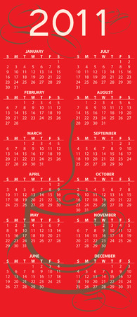 Illustration of coffee style design Calendar for 2011 Vector