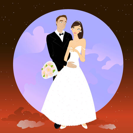 illustration of beautiful couple in romantic night on the sky background with Giant full moon Vector
