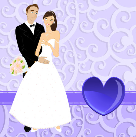 illustration of funky wedding invitation with beautiful sexy couple Vector