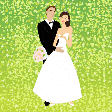 sexy young couple:  illustration of funky invitation with cool young sexy couple
