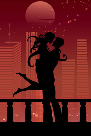 illustration of cool sexy couple on the urban romantic background Vector