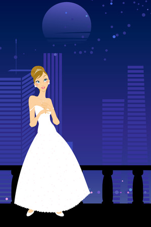 Illustration of beautiful women in the evening dress on urban background Vector