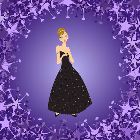 Illustration of beautiful women in the evening dress Stock Vector - 7866870