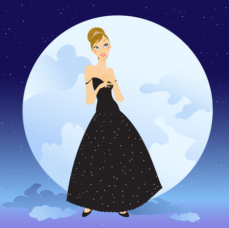 Illustration of beautiful women in the evening dress on romance background Stock Vector - 7866868