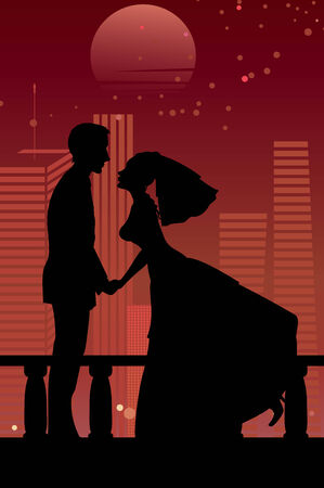 illustration of cool bride and groom on the urban romantic background  Vector
