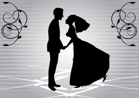 illustration of funky bride and groom on the swirl background. Ideal for wedding invitation. Vector
