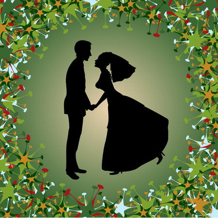 funky background:  illustration of beautiful bride and groom on the funky background. Ideal for wedding invitation. Illustration
