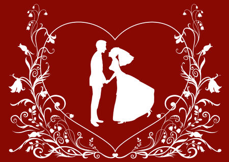 illustration of bride and groom on the elegant background decorated with heart shape and flowers. Ideal for wedding invitation. Vector