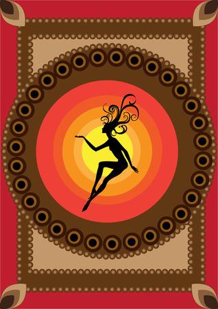 illustration de funky tapis avec cool Silhouette de fée