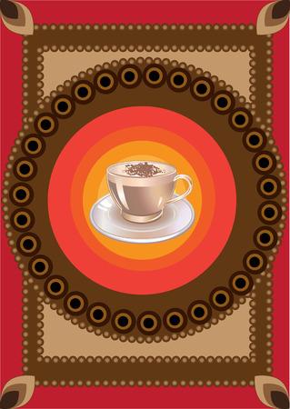 comida arabe:  Ilustraci�n de la taza de caf� en el fondo ornamentado cool