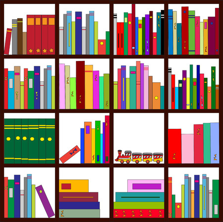 illustration of four bookshelves with loads of cool books of all colors, types and sizes Illustration
