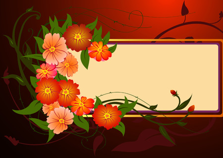 illustraition of funky Abstract floral border Vector