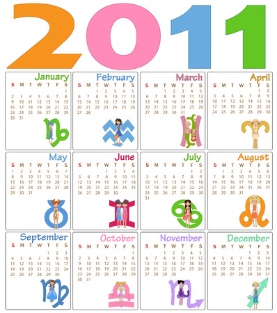 Illustration of colorful style design Calendar for 2011 decorated with zodiac signs Vector