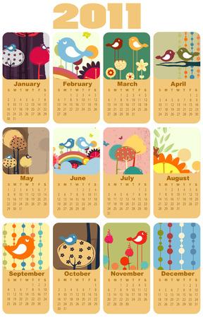 Illustration du design de style color� calendrier pour 2011