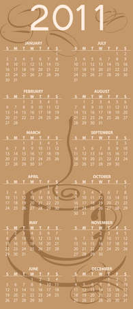 Illustration of coffee style design Calendar for 2011 illustration