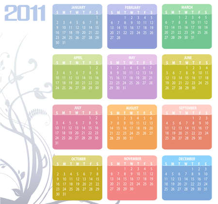yearly: Illustration of style design Colorful Calendar for 2011
