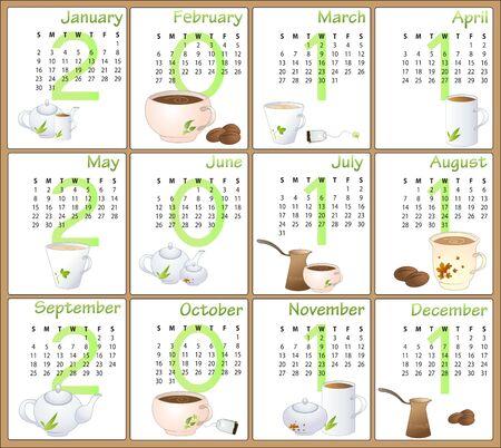 Illustration of cafe style design Calendar for 2011 illustration