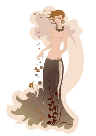 illustration of beautiful mermaid, decorated with flowers, fishes and seaweed. Vector