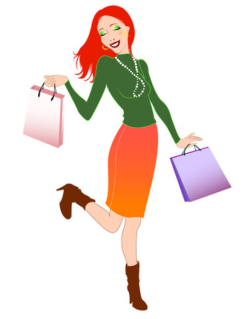 illustration of beautiful woman during the shopping and holding the bags.