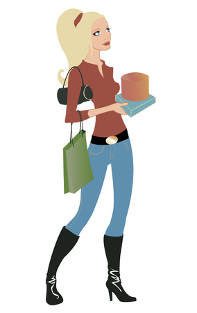illustration of beautiful woman during the shopping, holding the bags and boxes. Vector
