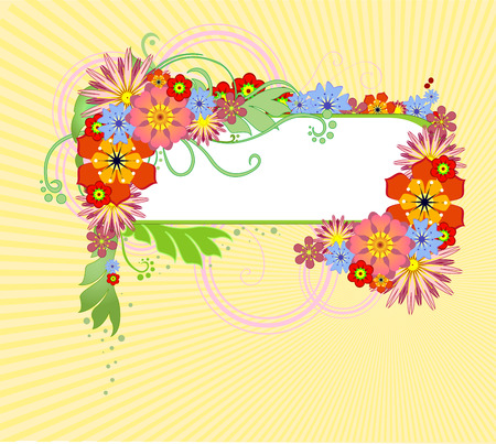illustration of funky Abstract floral frame Stock Vector - 8219822