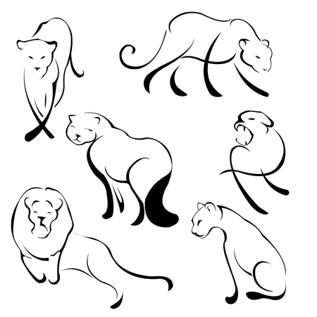 silueta gato negro: Ilustración del conjunto de diseño de León de hecho con sólo la línea simple