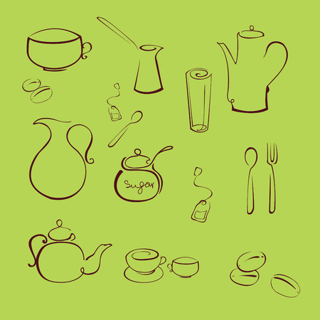 ladles:  illustration of kitchen utensil Design Set made with simple line only